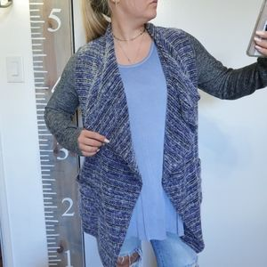 LUCKY BRAND BLUE AND GRAY SWEATER CARDIGAN